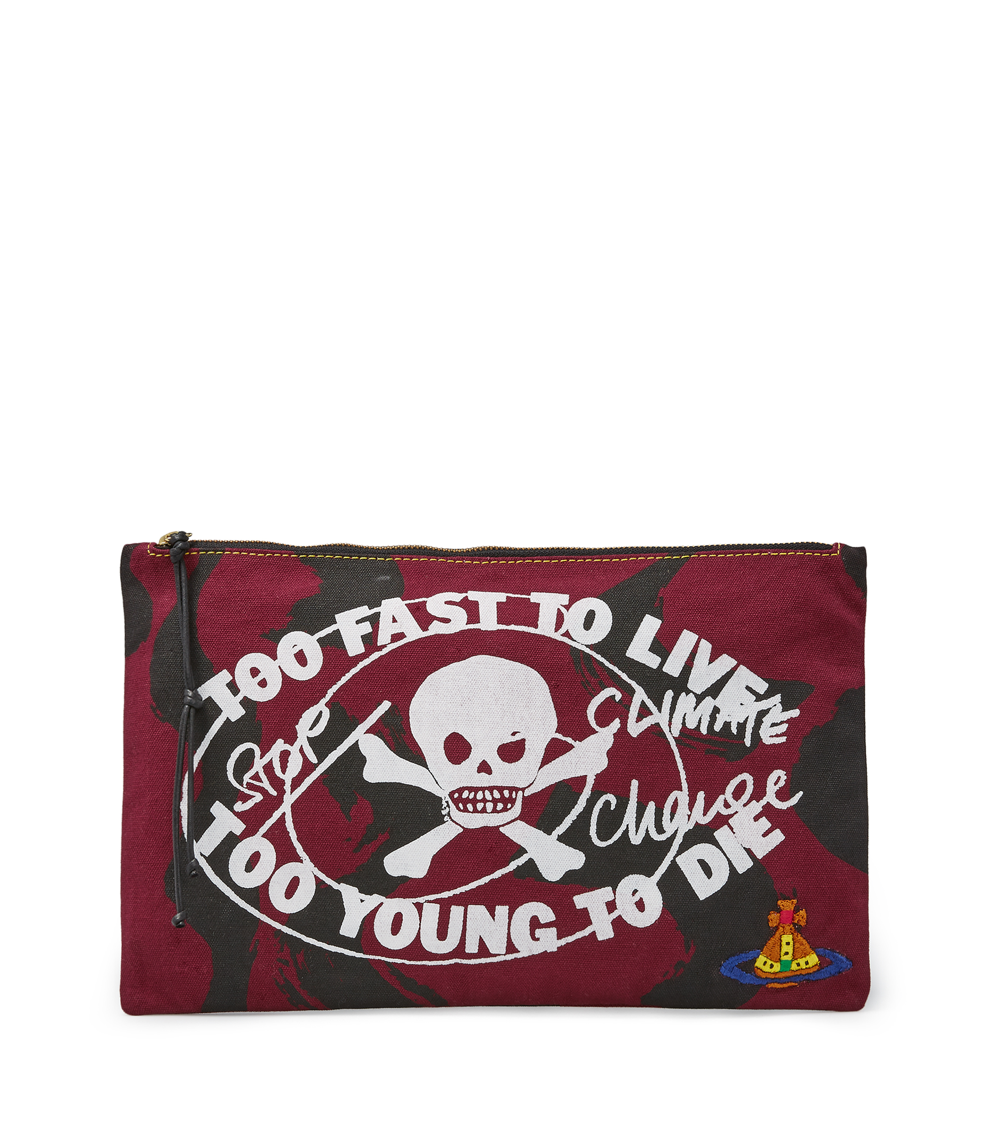 Vivienne Westwood Too Fast To Live Zip Pouch Maroon