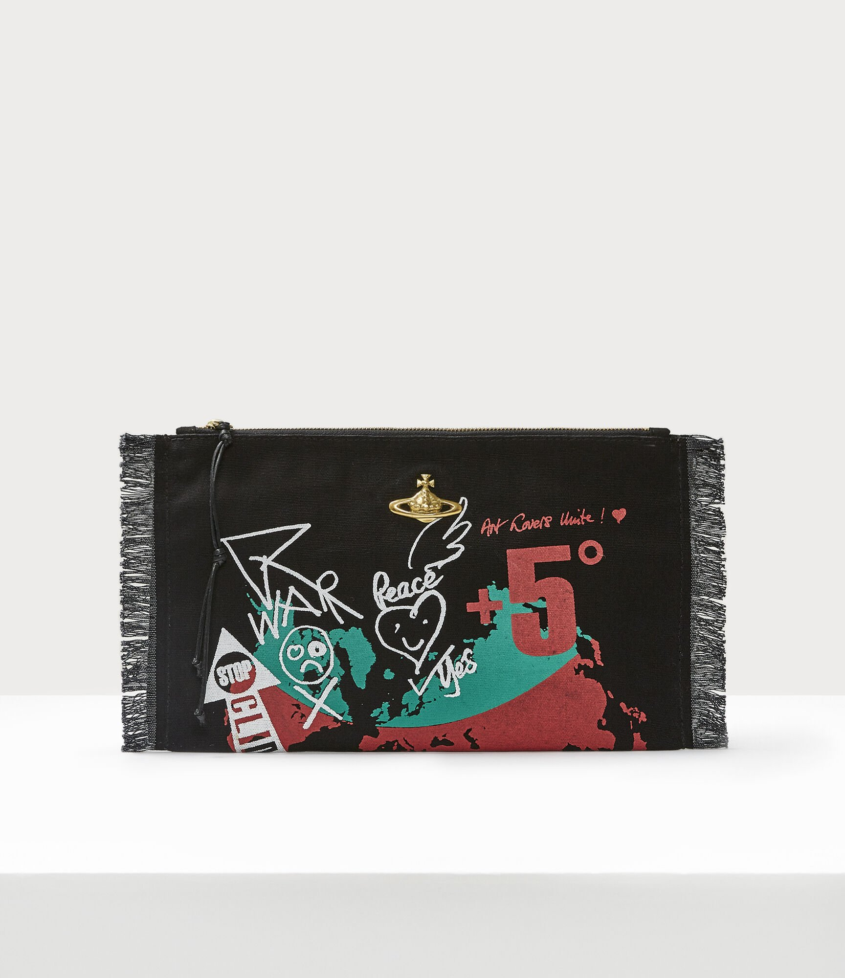 Vivienne Westwood WORLD MAP POUCH BLACK